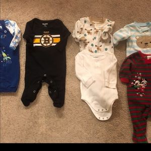 7 Piece Boys Bundle 3-6 Months Pajamas and Outfits
